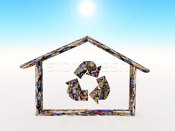 рециркуляции домой форма металл дома архитектура Сток-фото © guffoto