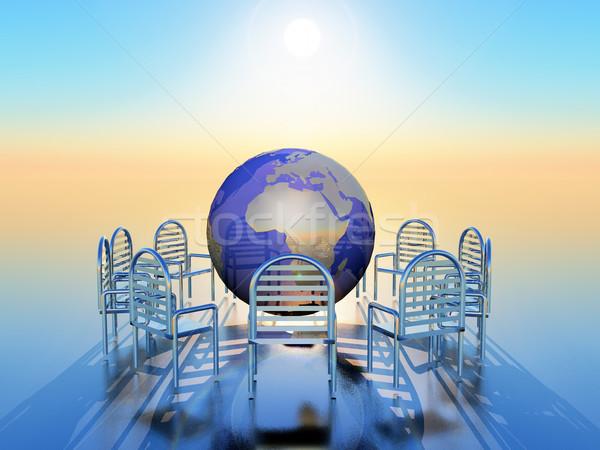 Daire sandalye dünya orta iş toplantı Stok fotoğraf © guffoto
