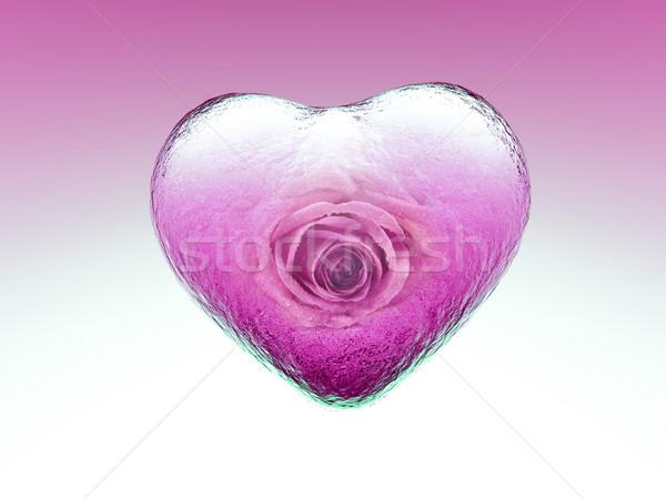 любви прозрачный сердце закрывается внутри стекла Сток-фото © guffoto
