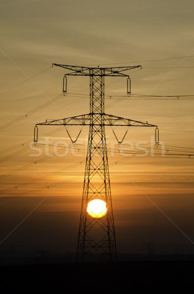高電圧 太陽 風景 業界 日の出 ケーブル ストックフォト © guffoto