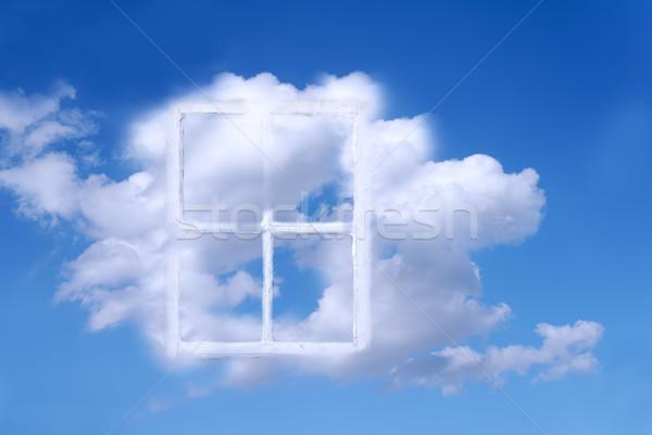 Menny ablak öreg ablakkeret felhők űr Stock fotó © guffoto