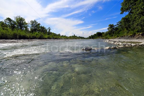 Vad folyó tavasz tájkép kő vízesés Stock fotó © guffoto