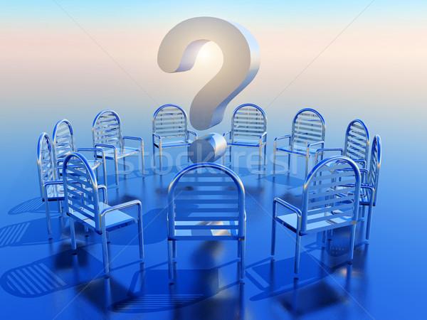 Kérdőjel kör üres székek absztrakt felirat Stock fotó © guffoto