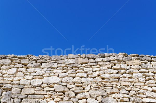 Kő kerítés öreg kék Stock fotó © guffoto
