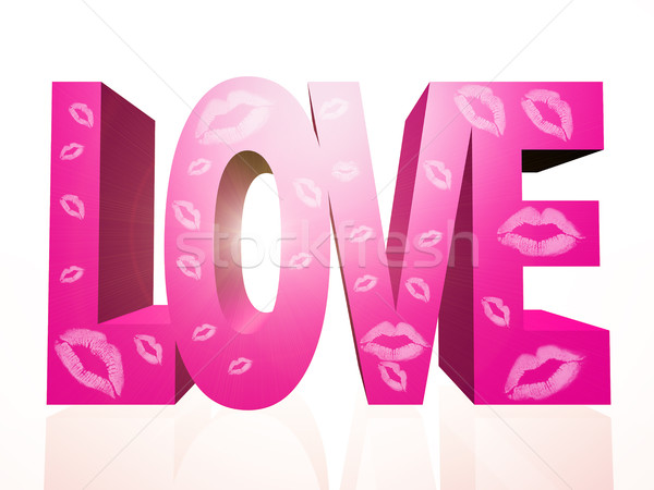 Szeretet szó rózsaszín románc Stock fotó © guffoto