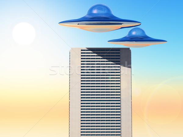 Ufo science fiction stad toren ruimte schip Stockfoto © guffoto