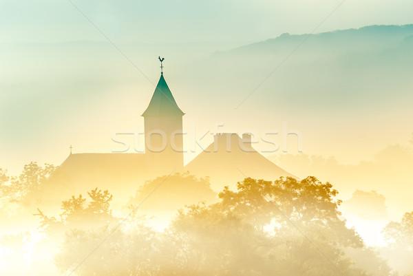 Köy Fransa sabah buğu doğa manzara Stok fotoğraf © guffoto