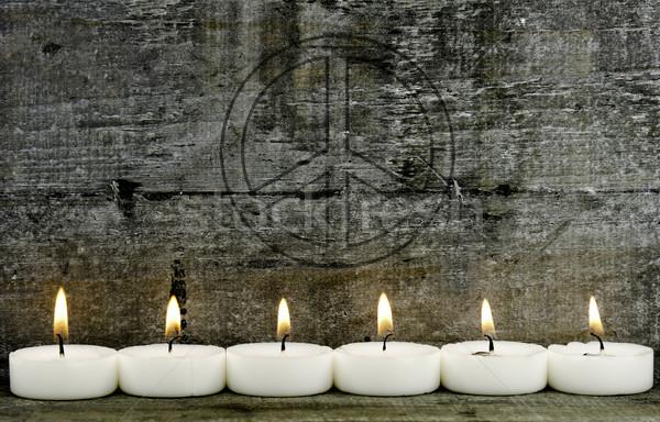 Gyertya hat gyertyák fából készült szimbólum szeretet Stock fotó © guffoto