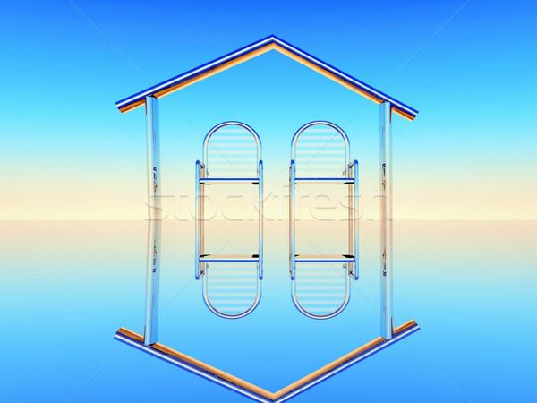 Deux lieu design illustration métal chaises Photo stock © guffoto