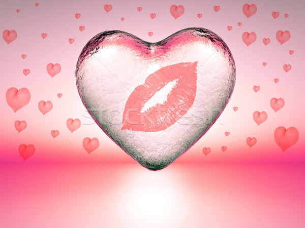 любви след помада сердце льда поцелуй Сток-фото © guffoto