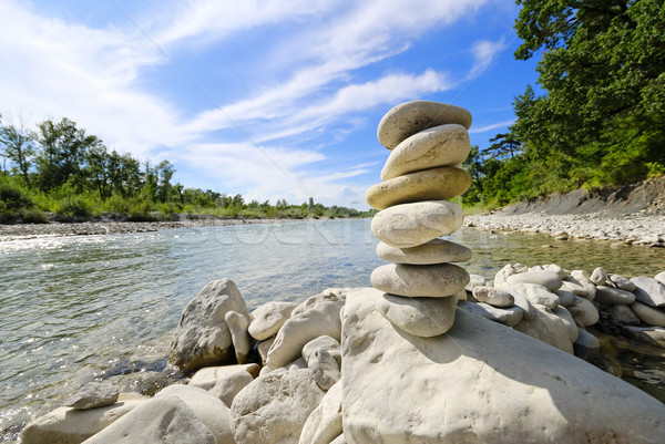 Pedra bancos rio água Foto stock © guffoto