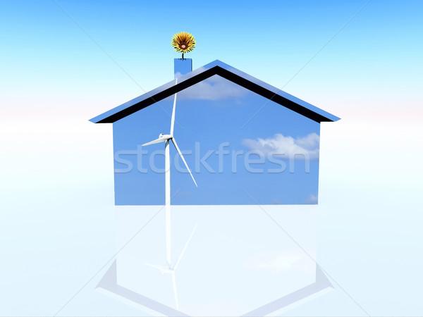 Megújuló energia illusztráció természet tájkép otthon technológia Stock fotó © guffoto