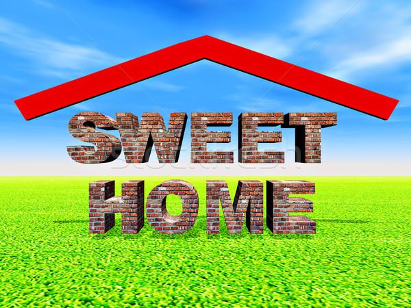 Sweet домой иллюстрация дома здании знак Сток-фото © guffoto
