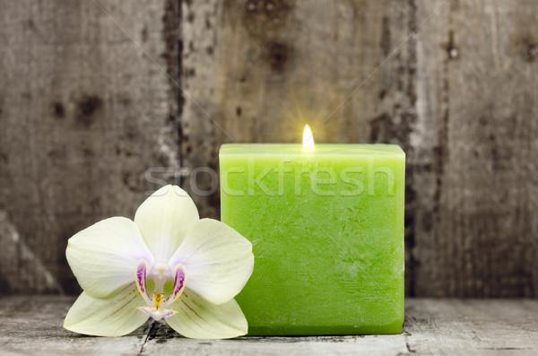 Zen orchidea virág zöld gyertya Stock fotó © guffoto