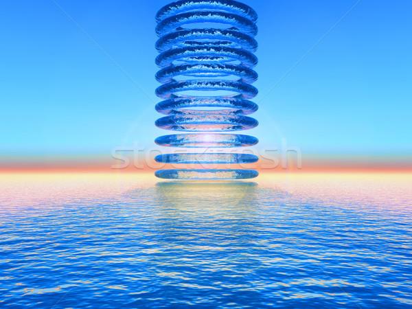 Su circles soyut gün batımı deniz dizayn Stok fotoğraf © guffoto