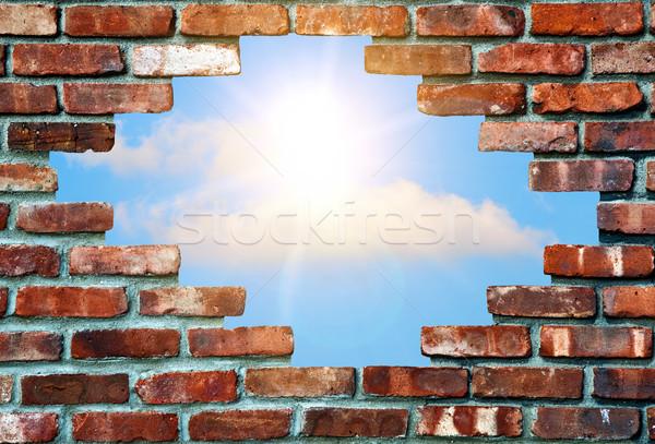 Fal lyuk égbolt természet háttér felhő Stock fotó © guffoto