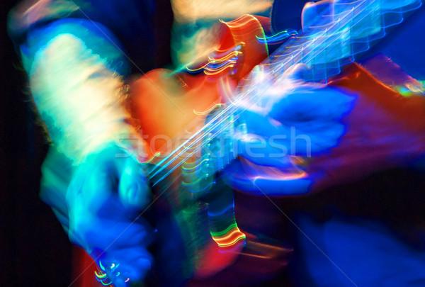 Elektromos gitár bemozdulás gitár kő színpad hang Stock fotó © guffoto
