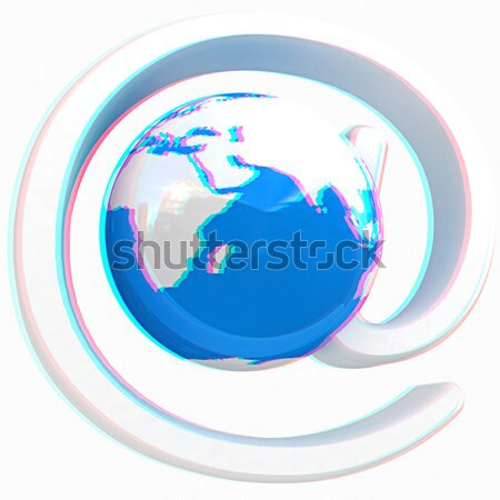 Glanzend icon mail aarde witte wereld Stockfoto © Guru3D