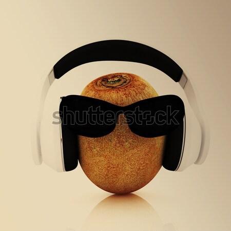 Kiwi zon glas hoofdtelefoon gezicht Stockfoto © Guru3D