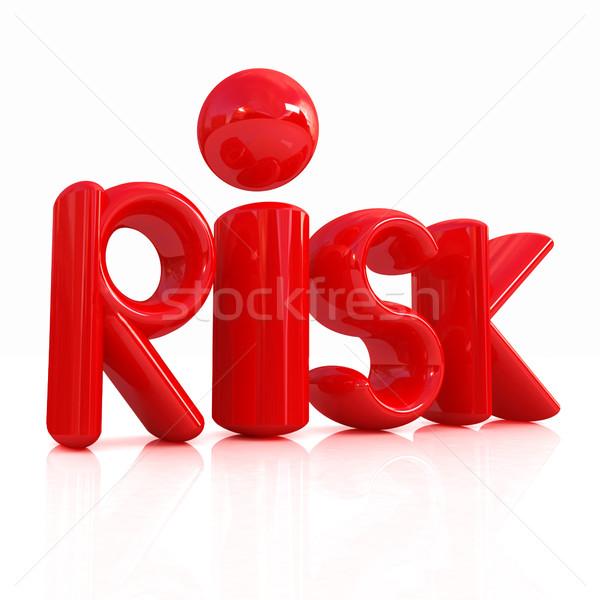 3D kırmızı metin risk beyaz mavi Stok fotoğraf © Guru3D