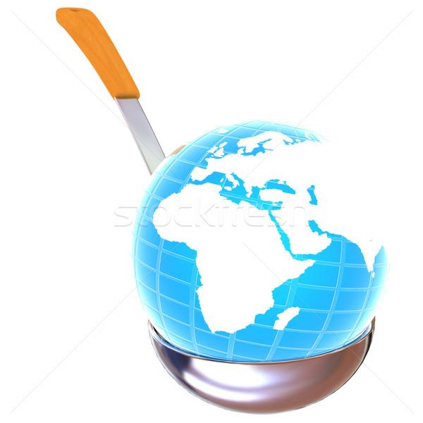 Stock fotó: Kék · Föld · leves · merőkanál · fehér · étel