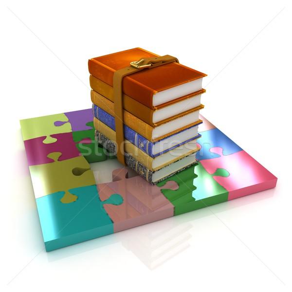 Сток-фото: головоломки · книгах · белый · бизнеса · книга · школы