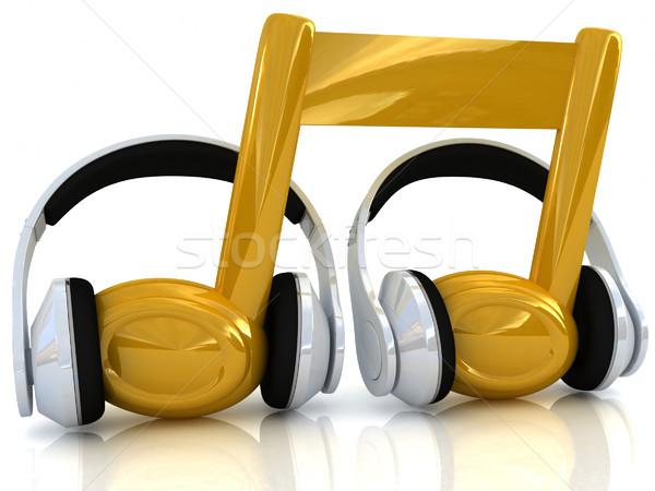 Hoofdtelefoon 3D nota witte muziek ontwerp Stockfoto © Guru3D