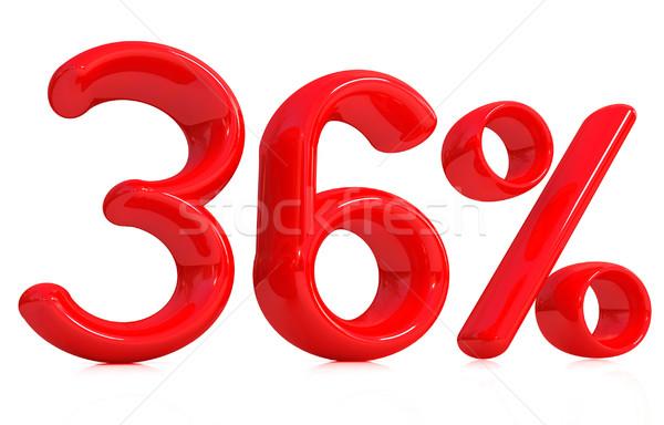 3D Rood dertig zes procent witte Stockfoto © Guru3D