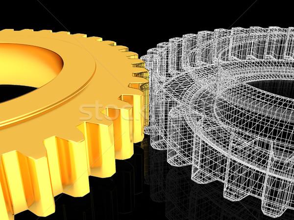 Versnelling ingesteld zwarte bouw technologie achtergrond Stockfoto © Guru3D