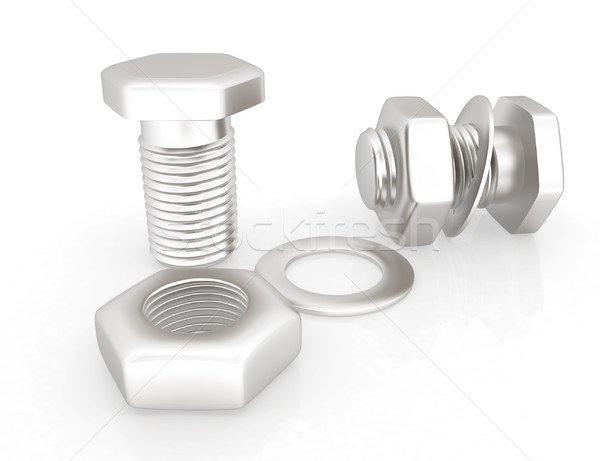stainless steel bolts with a nuts and washers Stock photo © Guru3D