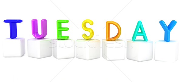 Colorful 3d letters 'Tuesday' on white cubes Stock photo © Guru3D