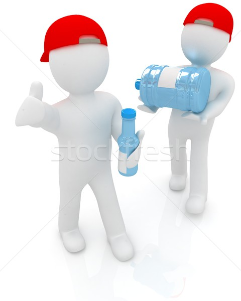 3d mans with a water bottle with clean blue water Stock photo © Guru3D