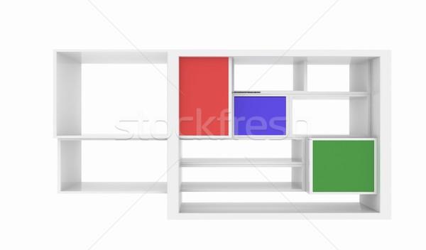 3d isolated Empty colorful bookshelf  Stock photo © Guru3D