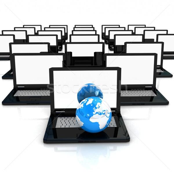 Computer netwerk online witte wereldbol wereld Stockfoto © Guru3D