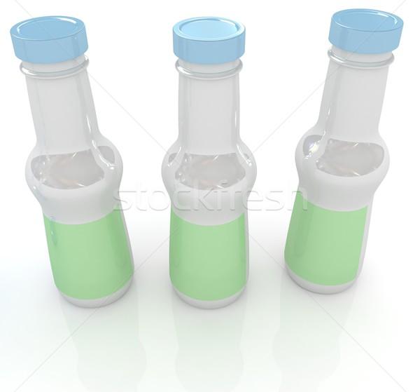 Műanyag tej termékek üvegek szett fehér Stock fotó © Guru3D
