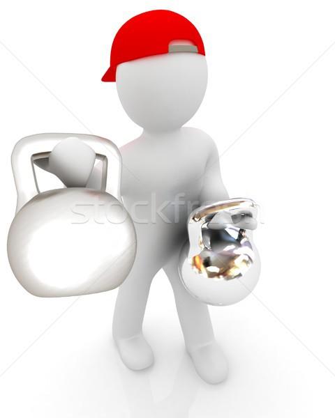 3d man with kettlebell. Bodybuilding. Lifting kettlebell  Stock photo © Guru3D