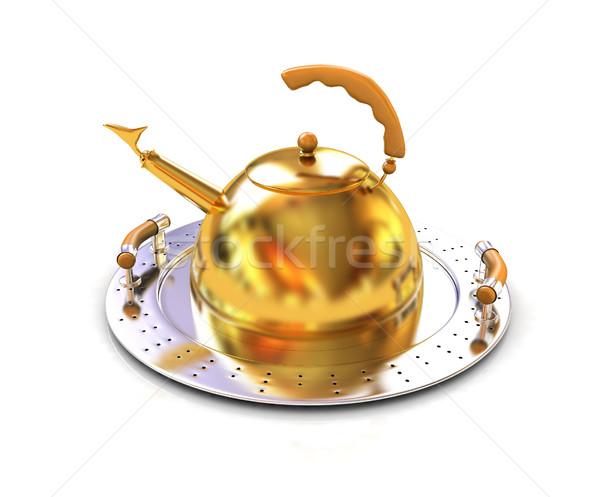 Goud theepot voedsel brand ontwerp plaat Stockfoto © Guru3D
