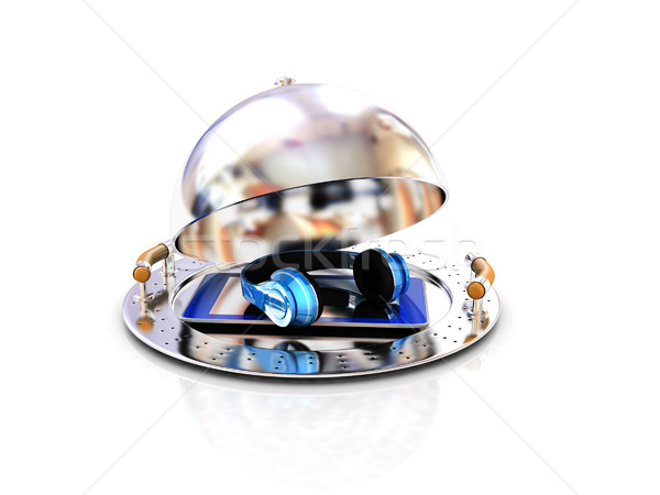 Phone and headphones on glossy salver dish under a cover  Stock photo © Guru3D