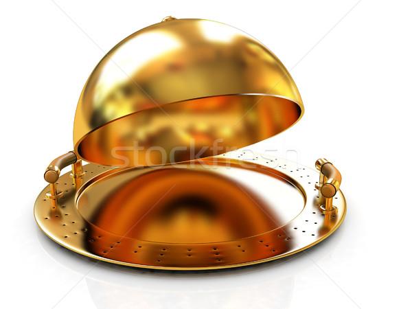 Glanzend gouden schotel dekken witte ontwerp Stockfoto © Guru3D