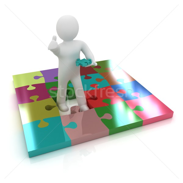 3d people - missing piece - jigsaw. 3d render. The concept of ni Stock photo © Guru3D
