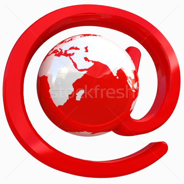 Fényes ikon posta Föld fehér világ Stock fotó © Guru3D