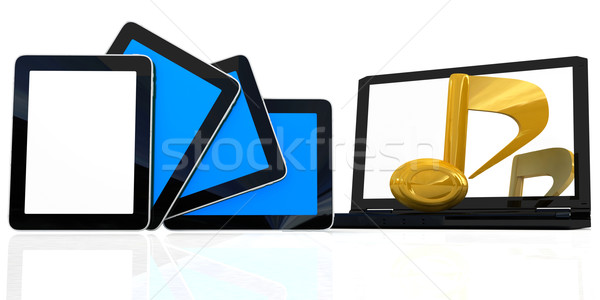 yellow note on the  laptop and  tablet pc Stock photo © Guru3D