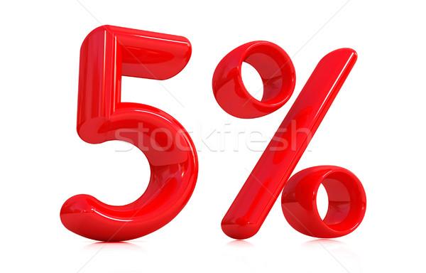 3D Rood vijf procent witte computer Stockfoto © Guru3D