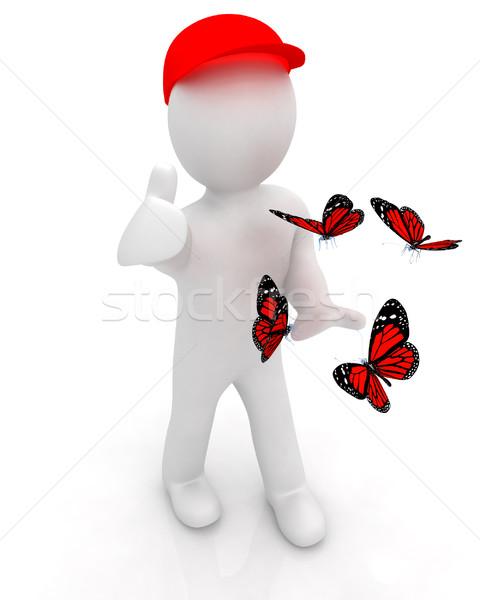 3次元の男 赤 キャップ 親指 アップ 蝶 ストックフォト © Guru3D