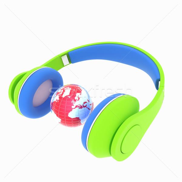 3D icon kleurrijk hoofdtelefoon aarde geïsoleerd Stockfoto © Guru3D
