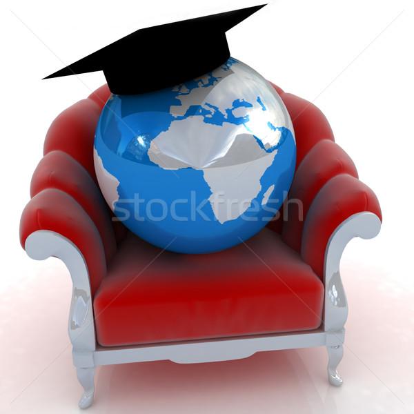 3D レンダリング 地球 椅子 白 ビジネス ストックフォト © Guru3D