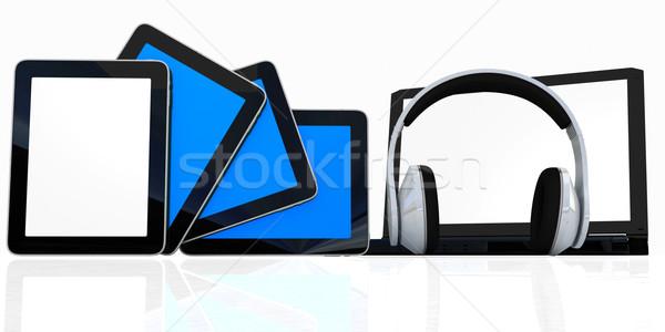 headphones on the  laptop and  tablet pc Stock photo © Guru3D