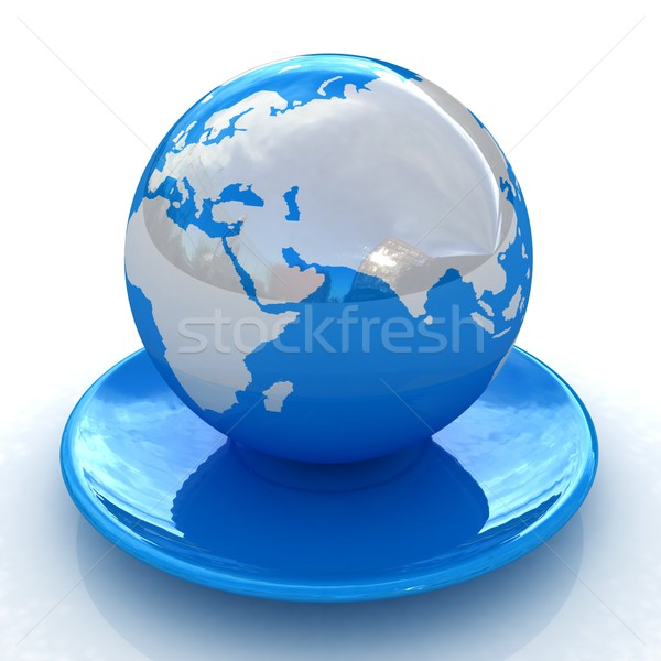 мира блюдце белый карта искусства синий Сток-фото © Guru3D
