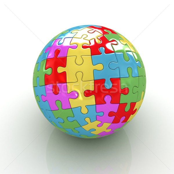 Sphere collected from colorful puzzle  Stock photo © Guru3D