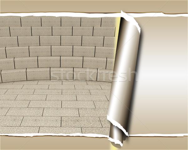Abstract futuristische interieur baksteen scène muur Stockfoto © Guru3D